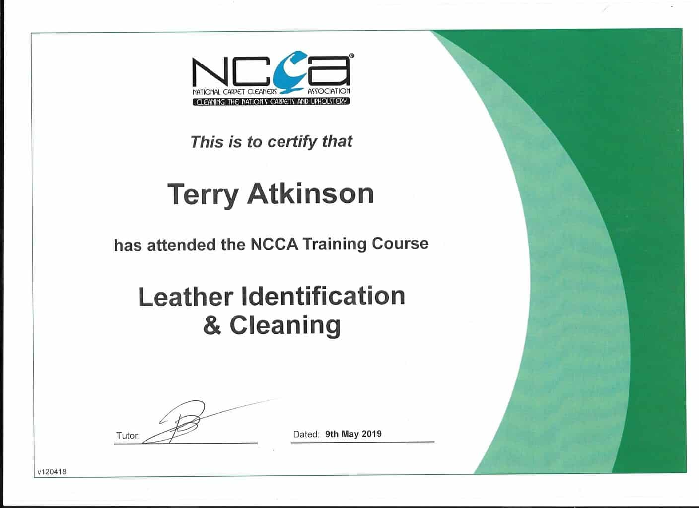 cleaning ncca upholstery carpet certificate
